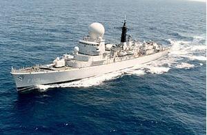 함장과정 훈련에 표적함으로 참가한 네덜란드 프리깃 트롬프.