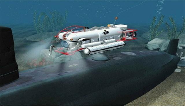 심해구조잠수정(DSRV)이 해저에 좌초한 잠수함 해치에 접합하고 있는 장면.