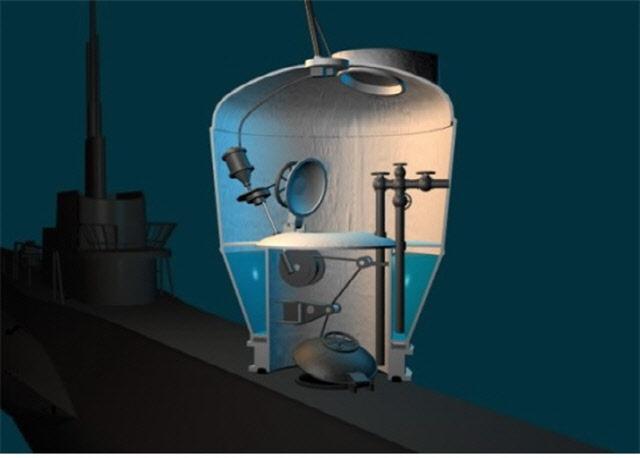 구조챔버(SRC)를 잠수함 선체에 접합시키는 장면.
