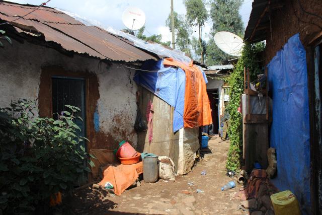 에티오피아 하와사 라른 지역의 6·25전쟁 참전용사 3세 다윗 에셰투 군의 거주지. 열악한 주거 환경이 어려운 형편을 짐작케 한다.