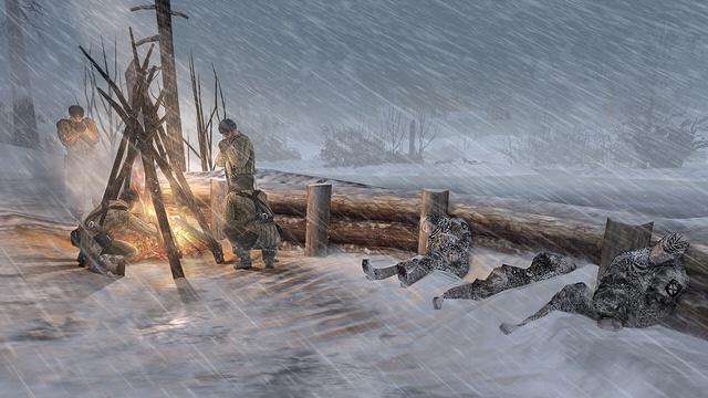 '컴퍼니 오브 히어로즈' 2편에서는 동부전선의 혹한 환경도 담아냈다. 모닥불이나 건물 안을 활용하지 않으면 동장군에 패한다. 필자 제공