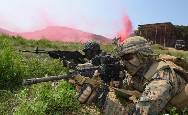 한미 장병들이 각개전투교장에서 목표 지점을 향해 전술기동을 하고 있다. 사진=양동욱 기자