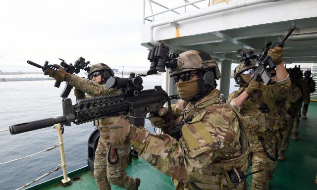 특수전전단 특임대원들이 크루즈선을 모사한 해경정에 올라 테러범 진압을 위해 기동하고 있다. 양동욱 기자