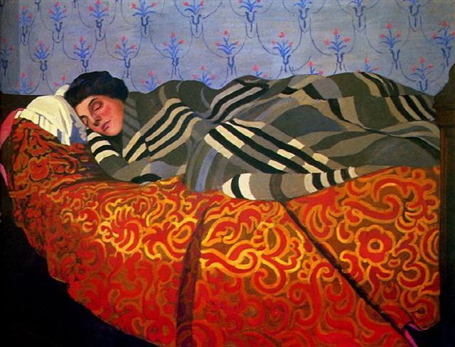 오직 유목 수렵인들만 이불 없이 잠을 잘 뿐 그 외 다른 모든 열대 지역의 사람들은 식물 등을 엮은 천을 덮고 잠을 청한다. 그림은 스위스 출신의 프랑스 상징주의 화가인 펠릭스 발로통의 작품이다.                                                       사진 출처=www.wikiart.org