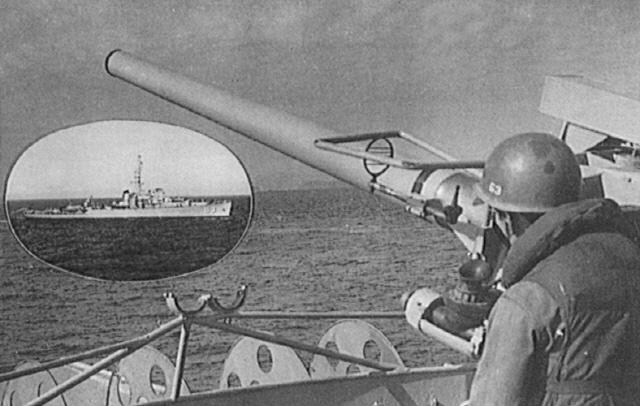 해상 봉쇄 작전을 펼치고 있는 대동강함.