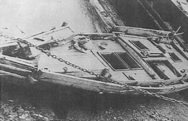 1959년 7월 19일 PCE-53 한산함이 옹도 근해에서 나포한 무장 간첩선.