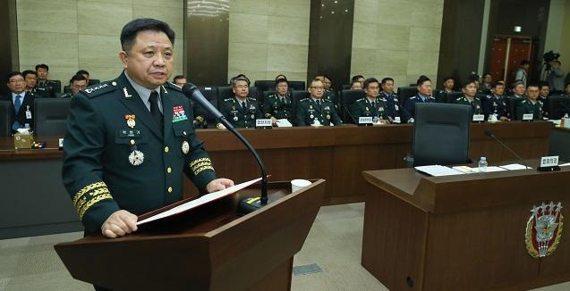 박한기 합참의장이 12일 국회 국정감사에서 업무보고를 하고 있다. 이경원 기자