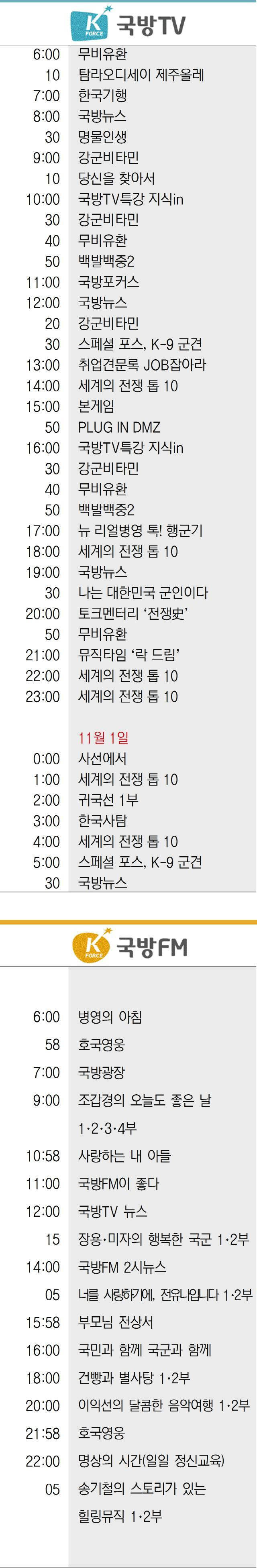 국방TV 국방FM 편성표