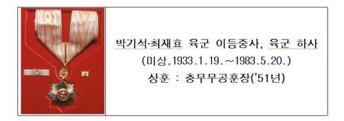 '11월의 6·25전쟁영웅' 박기석 이등중사·최재효 하사