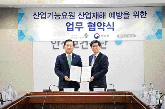 병무청과 한국산업안전보건공단이 진행한 업무협약식에서 양측 대표가 기념사진을 찍고 있다.