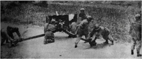 한강방어선에서 북한군의 진격을 저지하는 국군.