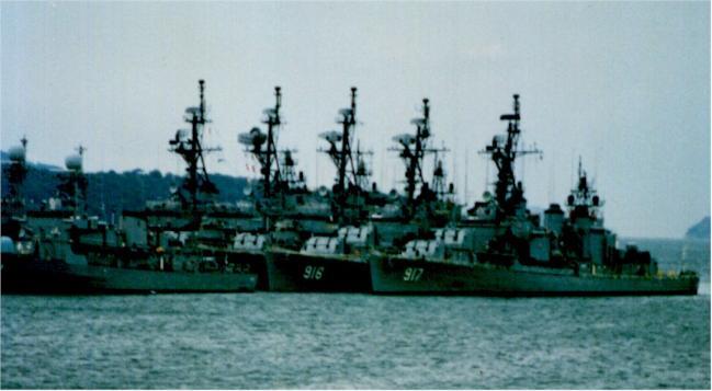 진해 군항에 정박해 있는 대구급 구축함.