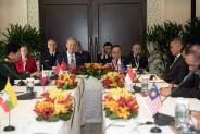 U.S. Acting Secretary of Defense Patrick M. Shanahan hosts a multi-lateral meeting with Asian nations, at the IISS Shangri-La Dialogue 2019, Singapore, May 31, 2019. Participating countries were Brunei, Cambodia, Indonesia, Malaysia, Myanmar, the Philippines, Singapore, Thailand, and Vietnam. (DoD photo by Lisa Ferdinando) Shangri-La Dialogue 2019, Singapore * 출처 : U.S. Indo-Pacific Command