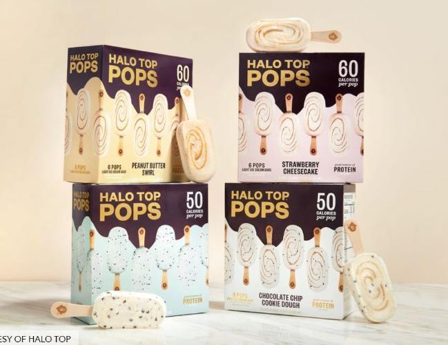 헤일로 탑의 아이스크림 바 상품. 컵 단위의 아이스크림에서 소비자들의 전폭적인 요청으로 언제든 꺼내 먹을 수 있는 '바'형 아이스크림도 출시했다. 헤일로 탑 제공