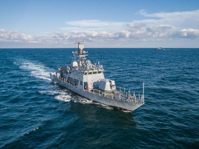 영해수호 '첨병' 역할을 수행할 신형 고속정 2번함이 부산 근해에서 성능 점검을 위해 항해하고 있다.  방사청 제공