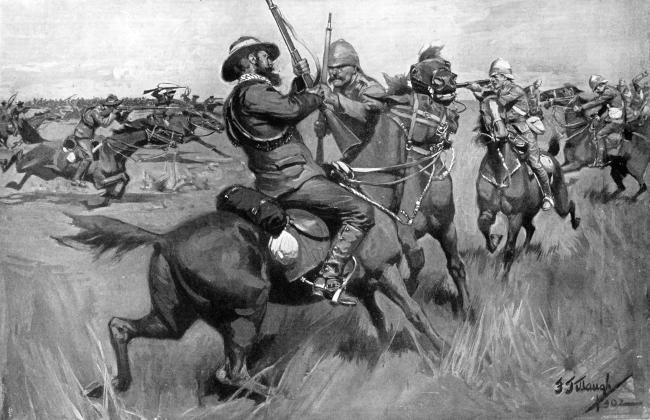 침팬지나 유인원들은 무리를 이뤄 살면서 개체끼리 먹을 것을 두고 다투는 경우는 있어도 식량 확보를 위해 무리를 지어 다른 무리와 '전쟁'을 벌이지는 않는다. 인지혁명 덕분에 인간은 상상력을 매개로 대규모 집단을 형성하면서 상호 협력적 행동을 할 수 있었다. 그림은 네덜란드계 보어인과 영국이 싸운 제2차 보어전쟁의 블러드 리버 전투를 묘사한 작품.  사진=게티이미지뱅크