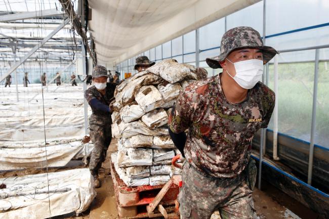 육군55사단 장병들이 12일 경기도 안성 일죽면에서 비닐하우스 내부 토사정리 등 수해복구 대민지원을 하고 있다.  부대 제공