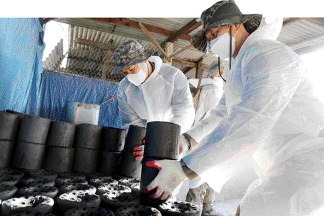 육군2군수지원여단 구룡가족봉사단원들이 지난 20일 강원도 춘천시에 거주하는 형편이 어려운 세대에 전달하는 연탄을 쌓고 있다.                 사진 제공=유지훈 대위