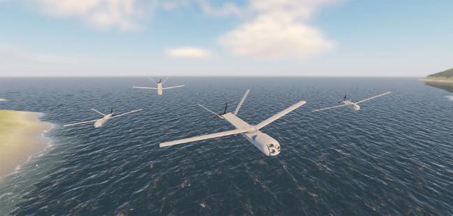 최근 스페인이 새로운 체계 개발에 나서며 군사적으로 주목받고 있는 무인항공기(UAV) 군집운용체계의  비행 모습.  출처 = janes.com
