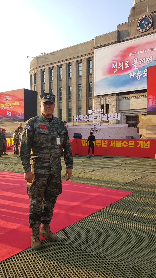 경기도 화성시 한 육교에서 추락한 시민을 구한 해병대사령부 김도형 소령.  해병대 제공.