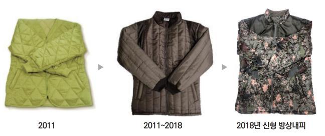 장병들의 병영생활 만족도 향상을 위해 일명 '깔깔이'로 불리던 방상내피가 '경량 보온 재킷'으로 개선될 전망이다. 사진은 방산내피의 변천 모습.  국방기술품질원 제공